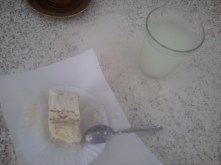 Delicious cake and a glass of lemonade.