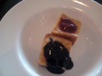 Asian breafast (kaya toast with strawberry sauce and chocolate syrup) at Sheraton.