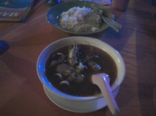 Thai tomyam seafood soup. Extemely spicy!!! :)