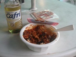 Korean lunch - rice with a spicy octopus sauce prepared in a microwave and Cafri (a Corona-style Korean beer).