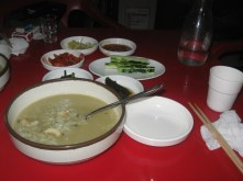 Abalone soup and some kimchies.
