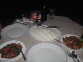 Goodbye dinner. Hot chicken curry, hot beef curry and rice.