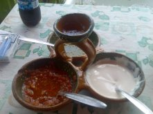 Three sauces for the ultimate Bistec pleasure. A green and a red chili sauce (those two with slight variations are provided in every restaurant in Mexico) were spicy and the third white-rose sauce was sweet (reminded me of yogurt). Photo taken on the road arond Popo.