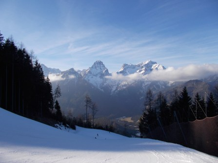 Valley descent - a nice red ski slope; across is the mountain Stoder.