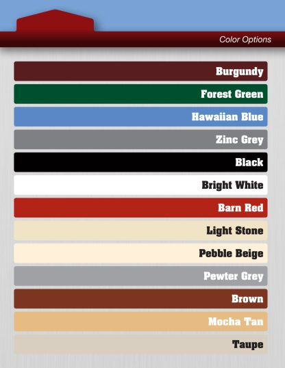 Metal on Metal Shed color sheet.