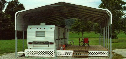 Standard Style Roof RV Port with 1 extra side panel on each side.