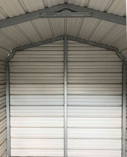 Back Wall of a 8x12 Standard Metal on Metal Utility Shed.