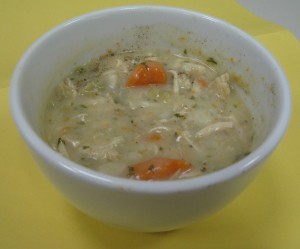 Homemade chicken and dumpling soup - a definite comfort food.