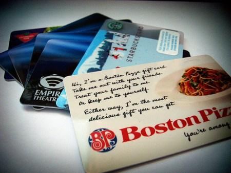 Thank heavens for restaurant gift cards!