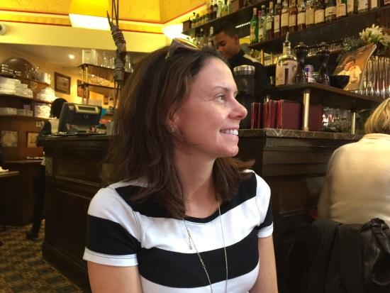 Jennifer in Paris restaurant