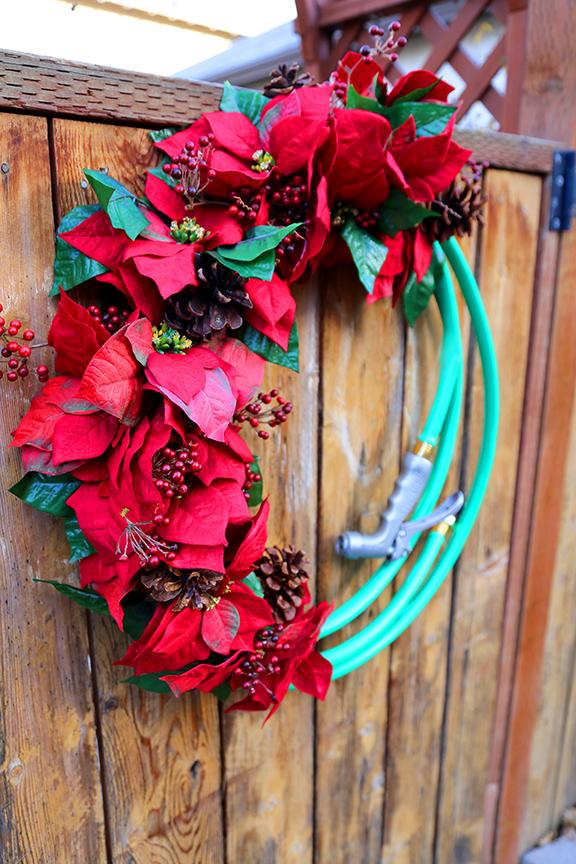 garden hose holiday wreath