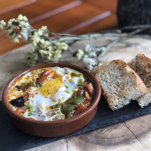 Tuscan Baked Eggs with Roasted Vegetables