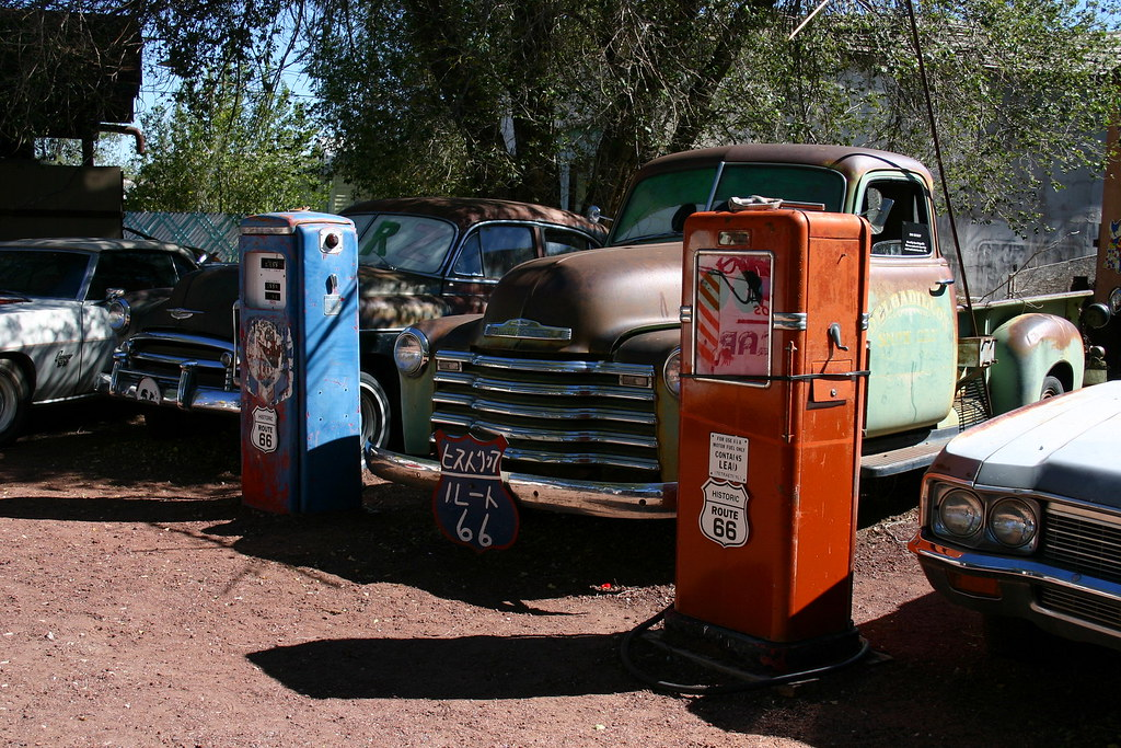 Trucks and Fuel Pumps, Snow Cap Cafe, Seligman, Arizona