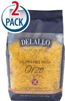 Delallo Gluten Free Corn & Rice Pasta Orzo No.65 -- 12 oz Each / Pack of 2
