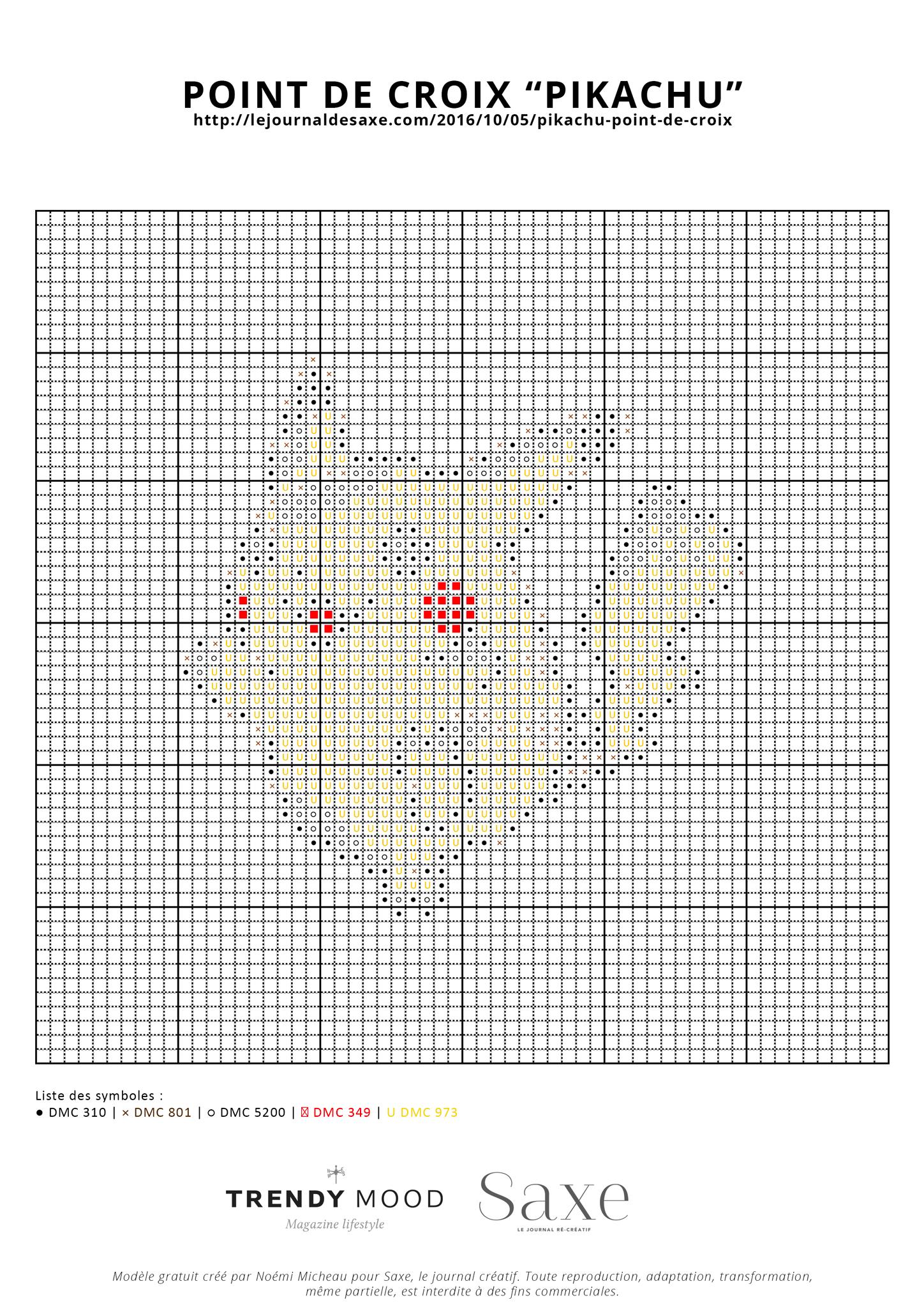 Modèle Broderie Point De Croix : modèle, broderie, point, croix, Modèle, Point, Croix, Gratuit, Pikachu