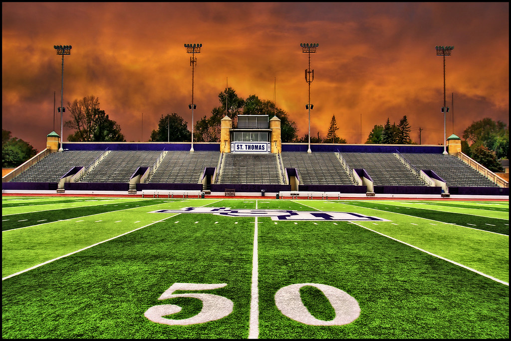 football stadium field 50 yard line - st. thomas university
