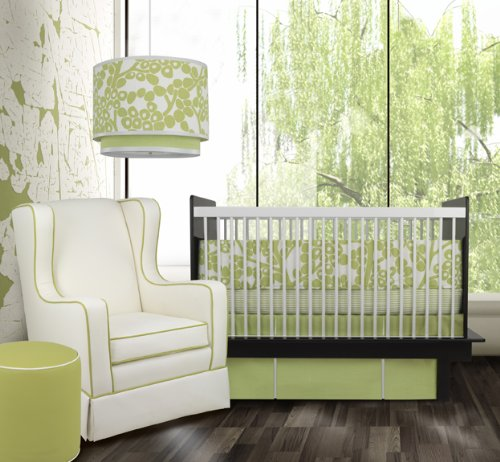 oilo crib bedding set - modern berries spring green