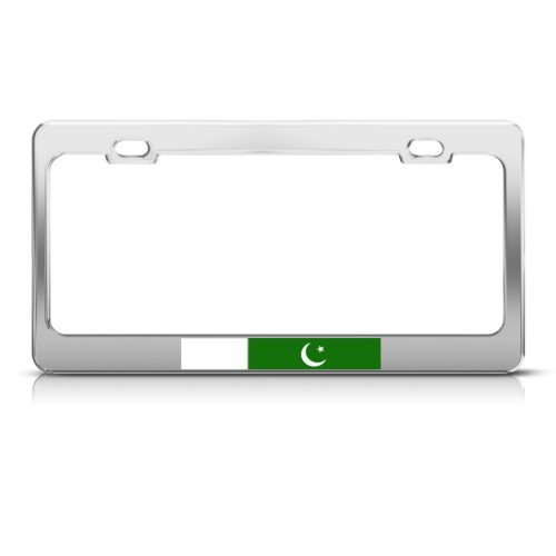 Pakistan Pakistani Flag Chrome Country Metal license plate frame Tag Holder