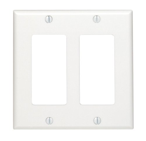 Leviton 80409-W 2-Gang Decora/GFCI Device Decora Wallplate, Standard Size, Thermoset, Device Mount, White
