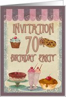 70th Birthday Party - Cakes, Cookies, Ice Cream Card