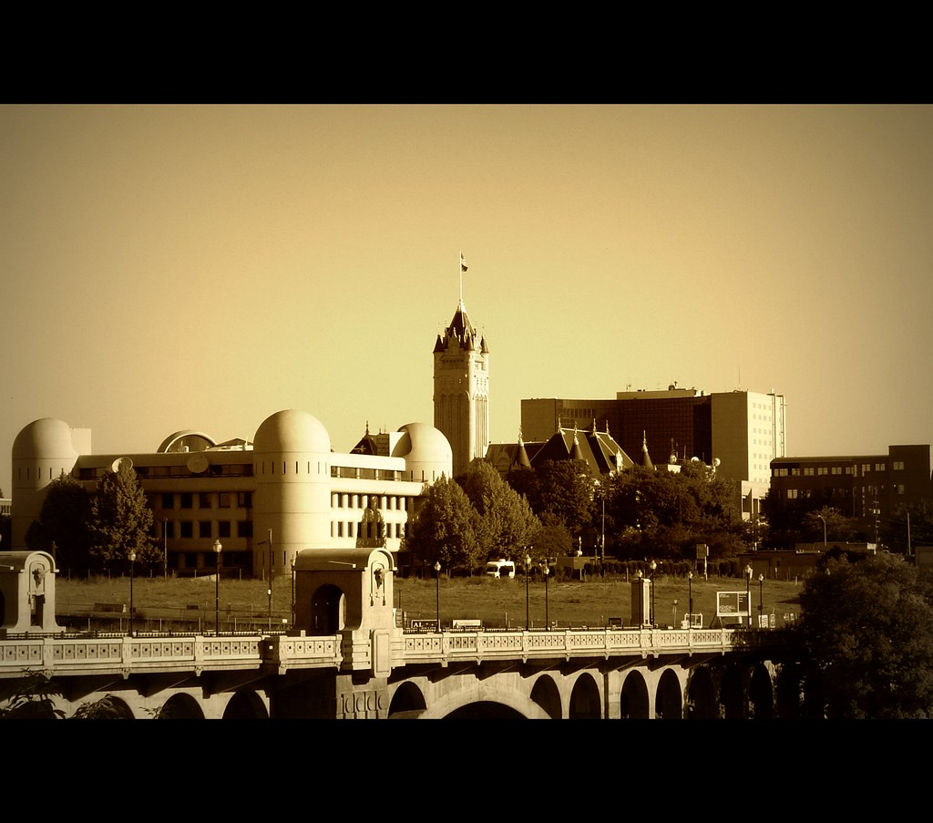 Sunrise over Spokane County Campus *in sepia tone