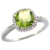 White Gold Peridot Ring | White Gold