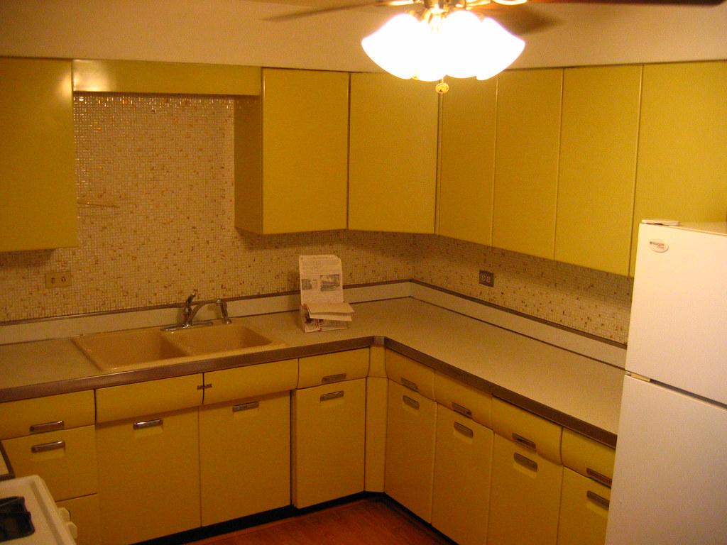 yellow kitchen appliances kohler faucet antique