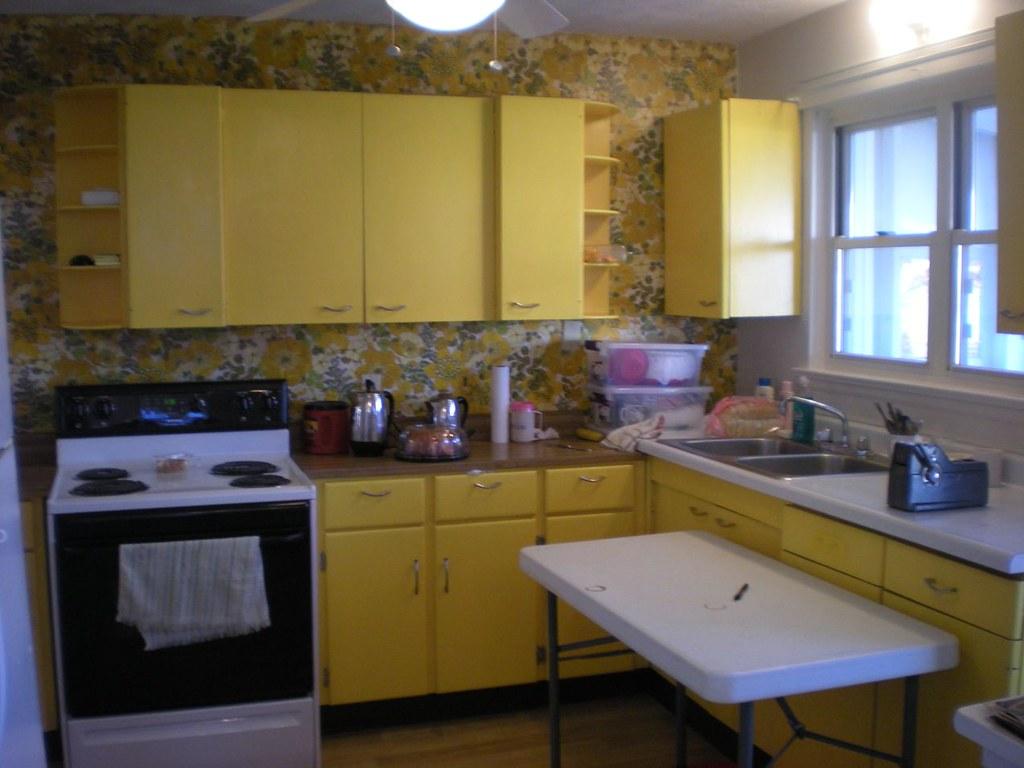 yellow kitchen appliances drop ceiling lighting antique