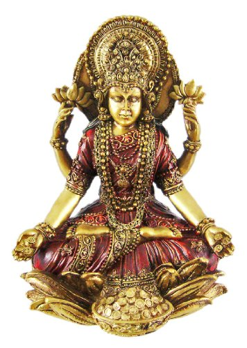 Metallic Gold Laxmi Hindu Goddess Of Wealth Statue