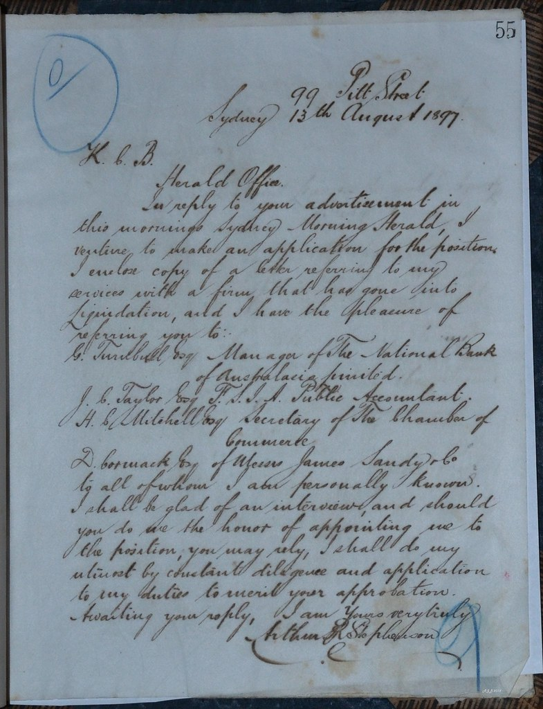 Stephenson Job Application to Herald 1897