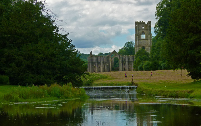 Fountains Abbey, river view, skell