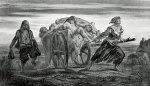 Plague - a cart with the dead - lithograph by Louis Duveau
