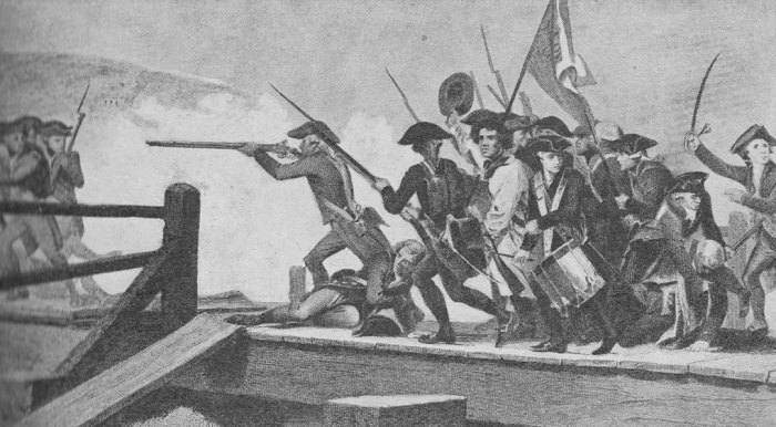 The skirmish at Concord Bridge, Massachusetts, American independence
