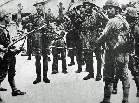 British troops surrender, Malaya, Second World War