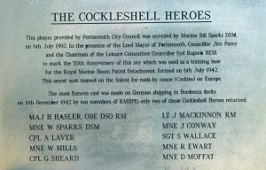 Plaque honouring the Cockleshell Heroes outside Southsea's Rose Garden