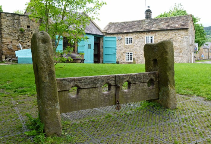 Village stocks, Eyam, Derbyshire