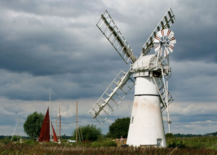 Thurne Mill in Norfolk - a low-lying part of the British landscape