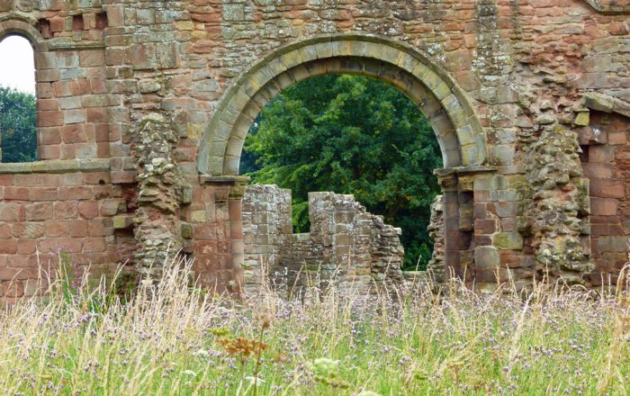 White Ladies Priory, Shropshire. Looking through the north transept.