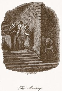 George Cruickshank's drawing 'The Meeting', showing Mr Brownlow and Rose talking to Nancy, with Noah spying on them from under the arch.