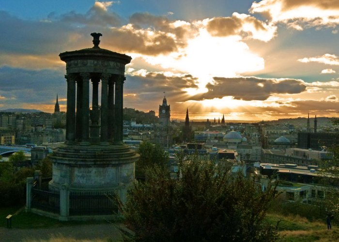 Edinburgh from Calton Hill with the Dugald Stewart Monument