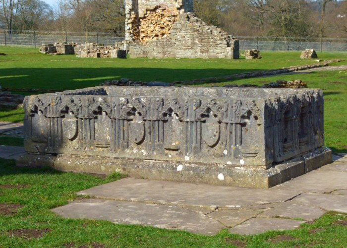 Sir Rafe Bowes' table tomb at Egglestone Abbey, Durham.