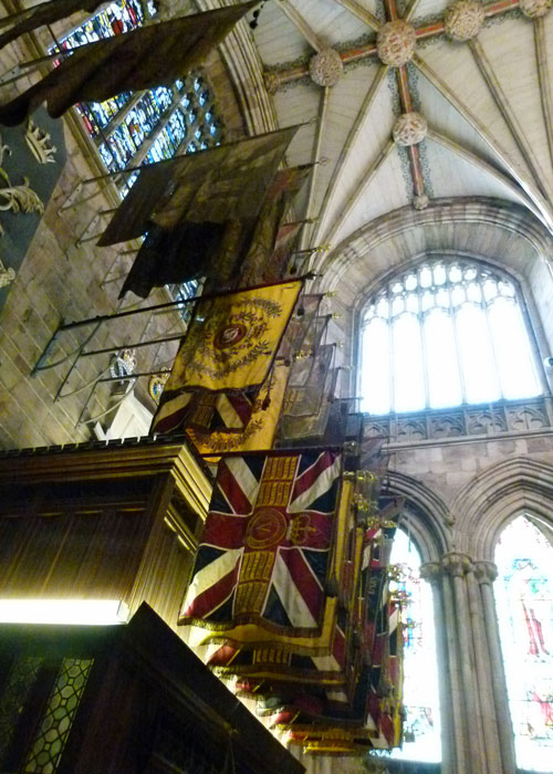 The banners of local regiments kept in the Cathedral
