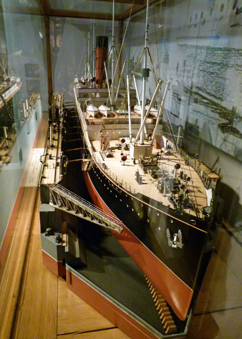 RMS Carpathia, ships constructed at Wallsend, model, museum, Segedunum.