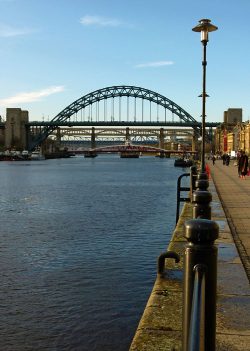 Tyne Bridge viewed from Newcastle's regenerated Quayside