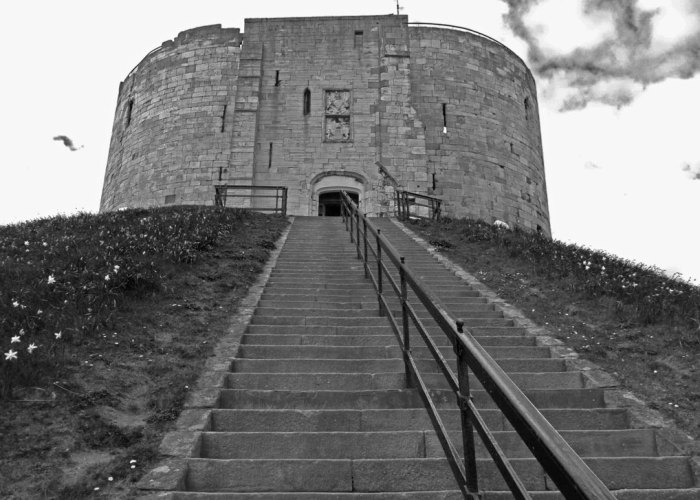 Clifford's Tower, York, steps, black and white
