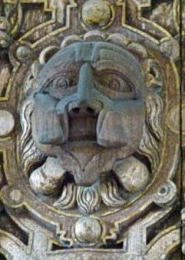 Stokesay, solar, overmantle, carving