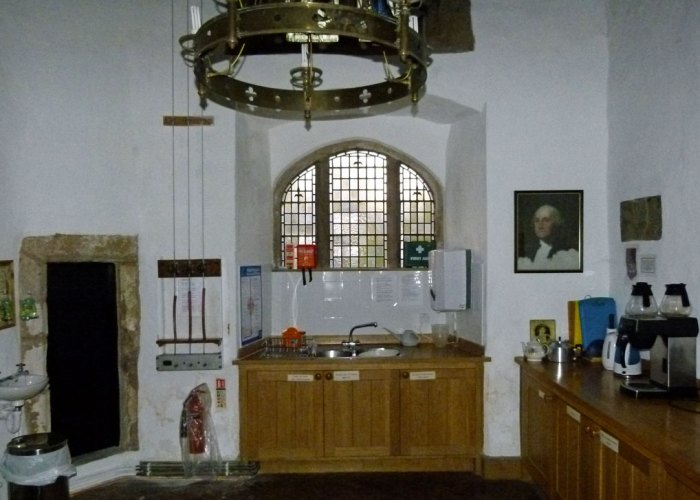 St Oswald's, Warton, kitchen, Washington, coat of arms