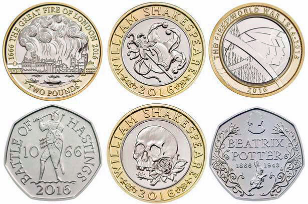 Royal Mint, commemorative coins, Anniversaries, 2016