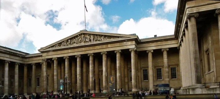 British Museum, neo-classical, entrance in Great Russell Street, London