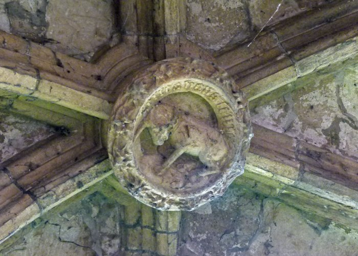 Linlithgow, unicorn, ceiling boss